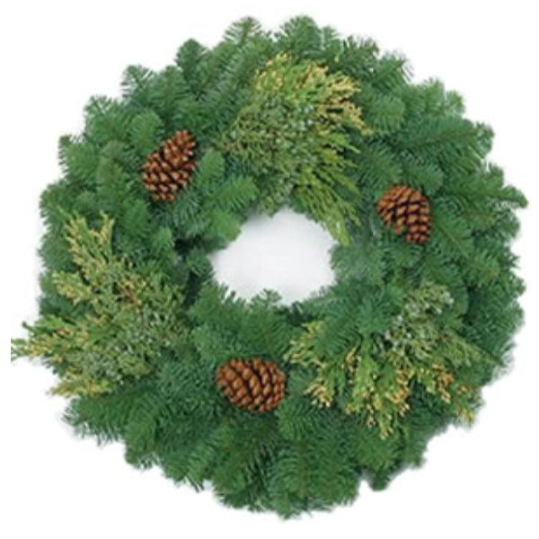 Classic mix wreath with pine cones and juniper