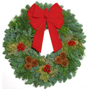 Deluxe Wreath with ribbon and pinecones
