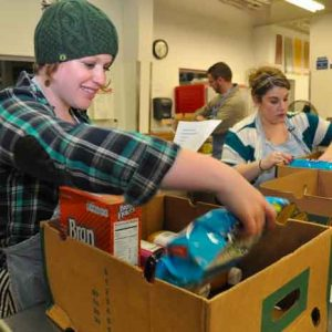 food bank filling boxes