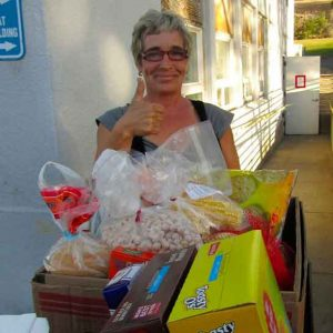 Food bank boxes with Mom